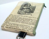 Book purse Alice in Wonderland pages with Alice the Pig and the Tweedles Repurposed into a sweet little purse with key ring clasp