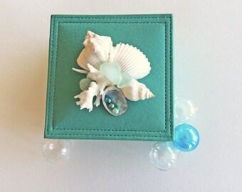 BEACH DECOR JEWEL box, trinket box, shell collage, bright aqua, nautical, coastal, beachy personal keepsake box, treasure box, wedding, gift