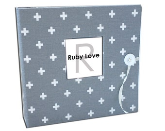 BABY BOOK | Gray Mini Swiss Cross Baby Book | Ruby Love Modern Baby Memory Book