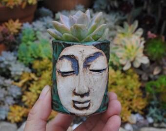 ceramic planter pot garden plant bowl window garden buddha head planter