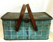 Vintage Metal Picnic Basket - Blue Plaid Box - Wooden Handles - Funky