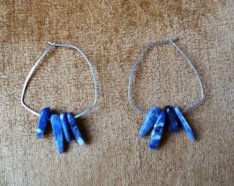 Sodalite Hammered Hoop Earrings