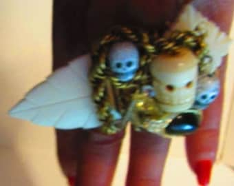 Wendy Gell One of a kind Skull Ring, Bone and wood Gothic