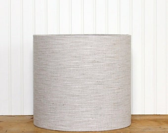 Textured Lamp Shade - Drum Shade - Natural Beige - Vintage Fabric - Mid Century- Lampshade - Woven Fabric Drum Shade - Custom Lighting