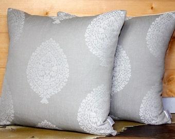 Damask Pillow Cover -  Decorative Pillow - Grey Pillow Cover - Chic Pillow - Designer Pillow - Cottage Pillow - 18x18 - Home Decor