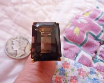 Estate Stunning Ornate Vintage 10K Gold Ring with Large Emerald Cut Smoky Topaz Size 8