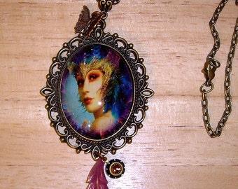 "SALE! Fantasy Fairy Art Bubble Cameo With Glitter Necklace  24"" Chain By Caroline Erbsland"