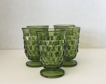 Green Fostoria Juice Glasses