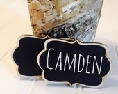 On SALE- 6 Reusable Name Tags Chalkboard Name Tags, Magnet Name Tags or Pin Backing, Perfect for Office Parties, Meeting,Corporate Events