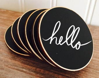50 Circle {BLANK} Chalkboard Name Tags with Magnets, Wedding Chalkboard Place Cards, Name Tags for Meetings and Corporate Events