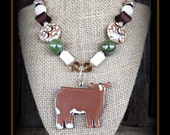 Red Baldy Show Steer Glass Pendant With Beaded Necklace
