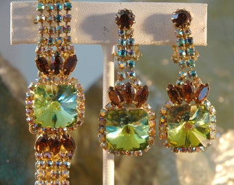 Vintage Juliana Bracelet Earrings, Square Watermelon Rivoli Stones, AB Rhinestones, Earthy Greens, Yellows, Golds, Topaz, Like New