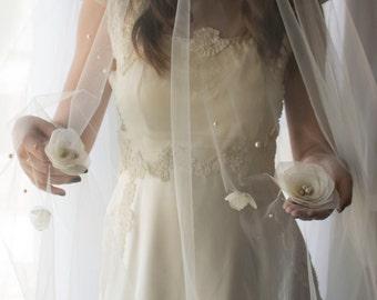 drape veil, draped veil, drop veil, flower veil, fingertip veil, flower appliqué veil, pearl veil, tulle veil, veil sale,