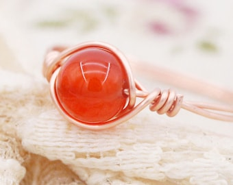 Inspiration - Petite carnelian wire wrapped ring (SR)