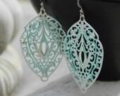 Aqua Silver Chandelier Earrings - Wedding Jewelry, Bohemian, Filigree, Lightweight