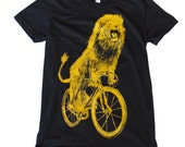Ladies T Shirt - Lion on a Bicycle - American Apparel Custom Color Options