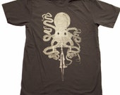 Octopus on a bicycle - Mens T Shirt, Unisex Tee, Cotton Tee, Handmade graphic tee, Bicycle shirt, Bike Tee, sizes xs-xxl