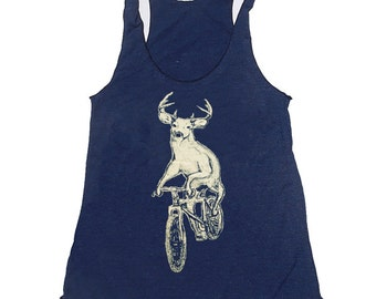 WOMENS Deer on a Bike Unisex American Apparel Tri-Blend racerback TANK