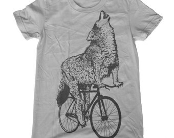 Wolf on a Bicycle - Womens T Shirt, Ladies Tee, Tri Blend Tee, Handmade graphic tee, sizes s-xL