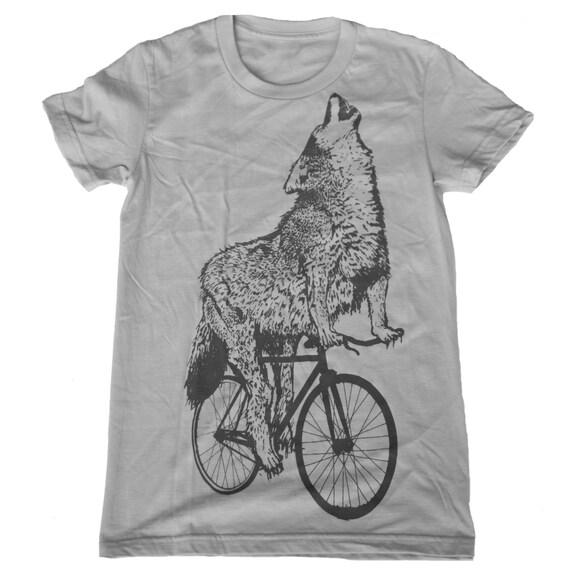 Womens BIKE wolf american apparel tee t shirt S M L Xl (Silver)
