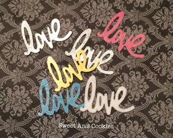 "12 Metallic Edible Wafer Paper ""Love"" Weddings/Showers/Valentine"