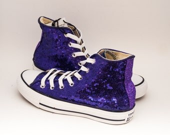 Ready 2 Ship | Size 6 WMNS / MENS 4 Tiny Purple Sequin Customized Converse Hi Top Sneakers Shoes