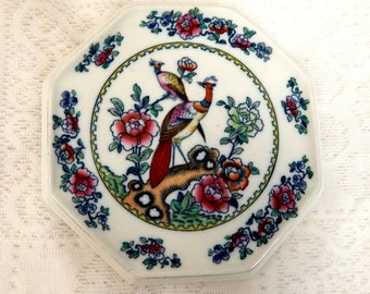 Vintage Polychrome Bird & Flowers Six Sided Trivet - Made in England