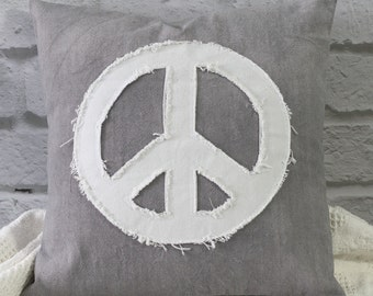 Peace Sign Pillow Applique Boho Hand Dyed Gray Canvas White Tattered Peace Sign Shabby Ragged Decorator Pillow 16 x 16