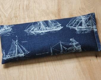 Lavender Eye Pillow - Relaxation Meditation - Yoga Eye Pillow - Ocean Navy Ships - Nautical Blue Sea