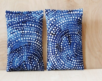 Batik Lavender Sachets - Cobalt Blue & White Dot - Cotton Anniversary Gifts under 30