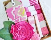 Embellishment Kit  //  Gift Wrap Kit  //  Paper Crafting  //  Ribbon  //  Paper Flower  //  Tags  //  Pink