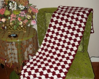 Fall Sale 10% Off Brand New Ready to ship, Handmade Crochet Burgundy and White Throw Over- Afghan-Blanket