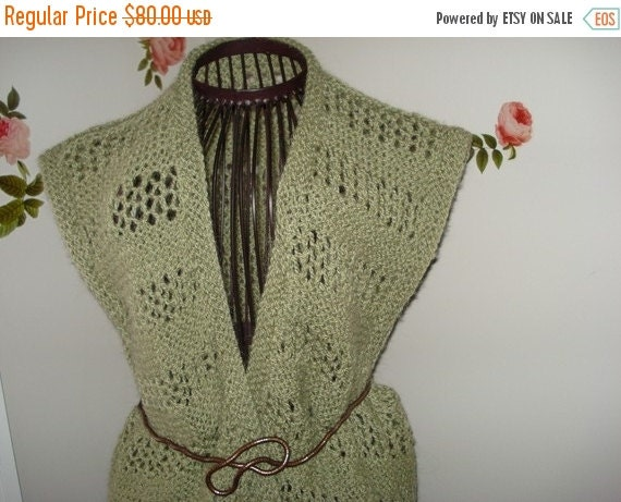 Fall Sale 10% Off Brand New Handmade Hand Knit Green Vest/Beach cover up /Size: M/L  // Ready to be shipped Today