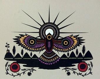 Dispersal At Dawn - 16 x 20 inch Cut Paper Art Print