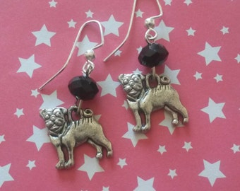 Cute pug silver dangle earrings with black glass beads