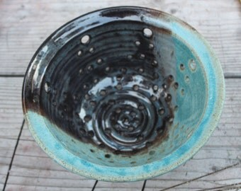 Berry Bowl - Ceramic Colander Collander -  Ceramic Berry Bowl - Strainer - Bowl  in Antique Turquoise and Blue