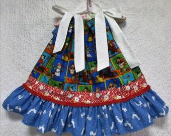 Fall/Thanksgiving Girls Dress 12M-18M Blue Scarecrows, Leaf, Turkeys Flowers Pillowcase Dress, Pillow Case Dress