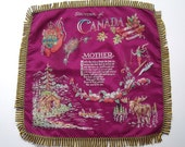 Vintage Souvenir of Canada Pillow Cover with MOTHER Poem, 18 in. square