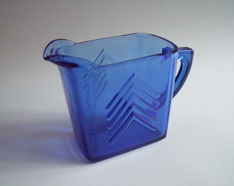 Vintage Glass Cobalt Blue Pitcher with Rectamgu;ar Design with Arrows