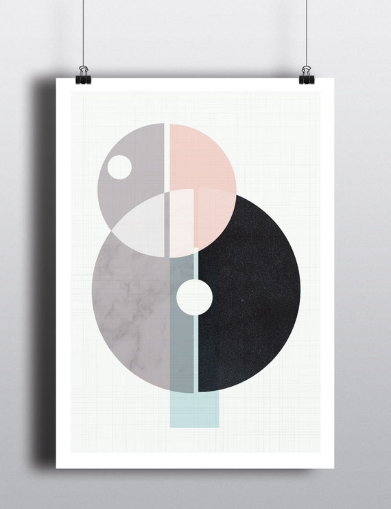 BEAUTIFUL MESS // poster Abstract art, 12x18, minimalist, geometric print, Scandinavian, mid century, minimalism, marble, cercle, vintage