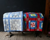 One Classic Twin Quilt Blue White And Tan Folk Art Vintage From NowVintage on Etsy