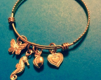 Rose Gold Stainless Steel Adjustable Charm Bracelet