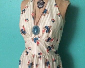 1970's floral print halter maxi dress MEDIUM