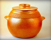 Covered Etched Pot, 5 Qt. Handmade Bean Pot, Clay Pot Cooking, Ceramics and Pottery, Clay Bakeware