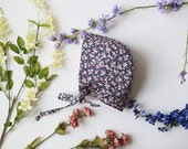Midnight Bouquet Bonnet 6-12month, baby bonnet, ready to ship baby hat, floral bonnet