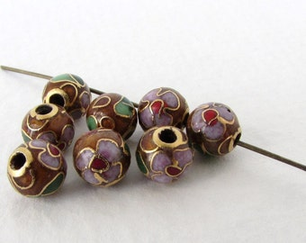 Vintage Cloisonne Beads Enamel Flower Pink Red Green Brown Gold Round 6mm vgb0903 (8)