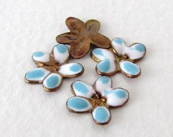 Vintage Flower White Blue Enamel Brass Stamping Finding No Hole 10mm stp0181 (4)