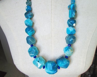 Turquoise Sapphire Long Blue Agate Beaded Necklace, Chunky Cyan Cobalt Beads