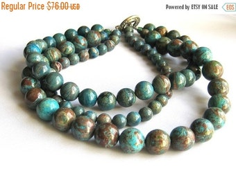SALE Chunky Blue Brown Teal Triple Strand Beaded Necklace