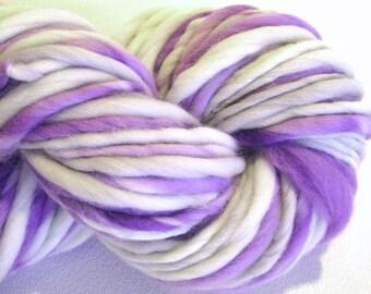 Handspun Yarn Purple Rain 88 yards hand dyed merino wool lavender violet grey gray waldorf doll hair knitting supplies crochet supplies